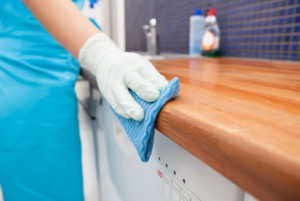 Maid Cleaning Kitchen Counter